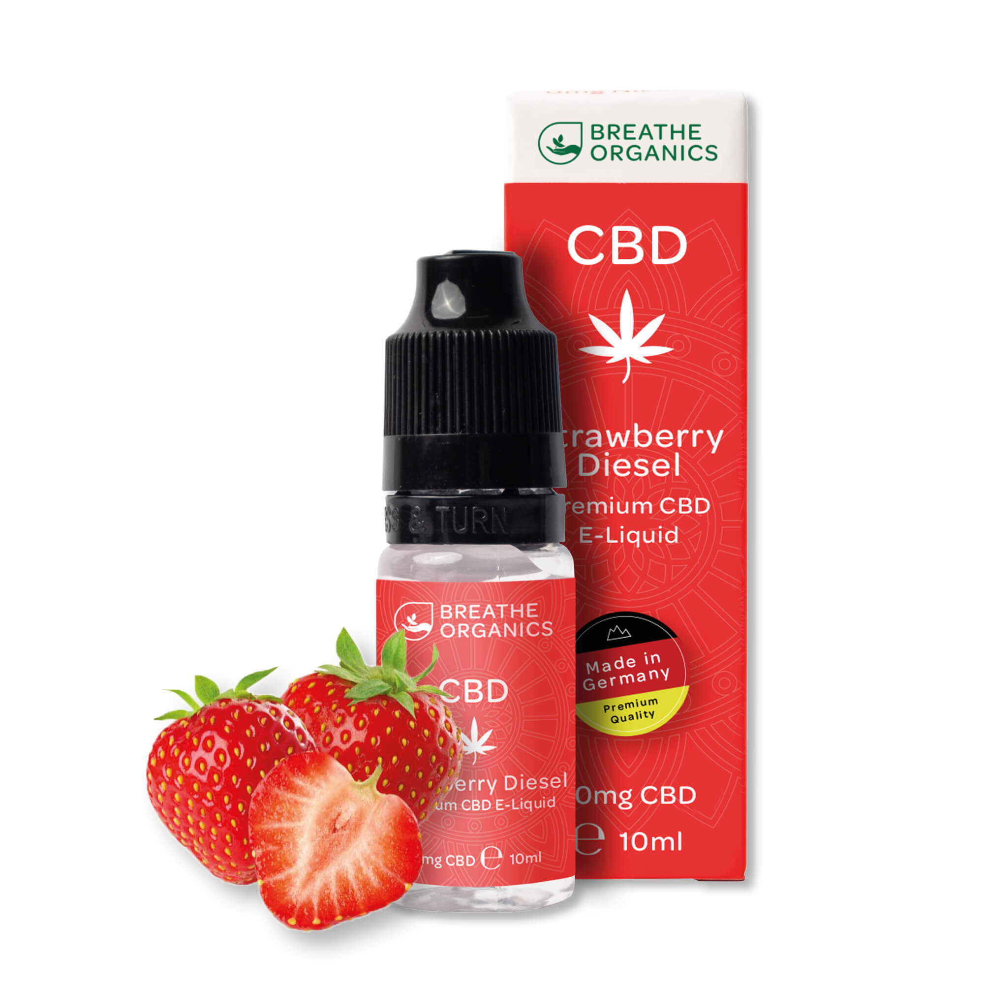 Breathe Organics - Premium CBD E-Liquid Strawberry Diesel 300mg