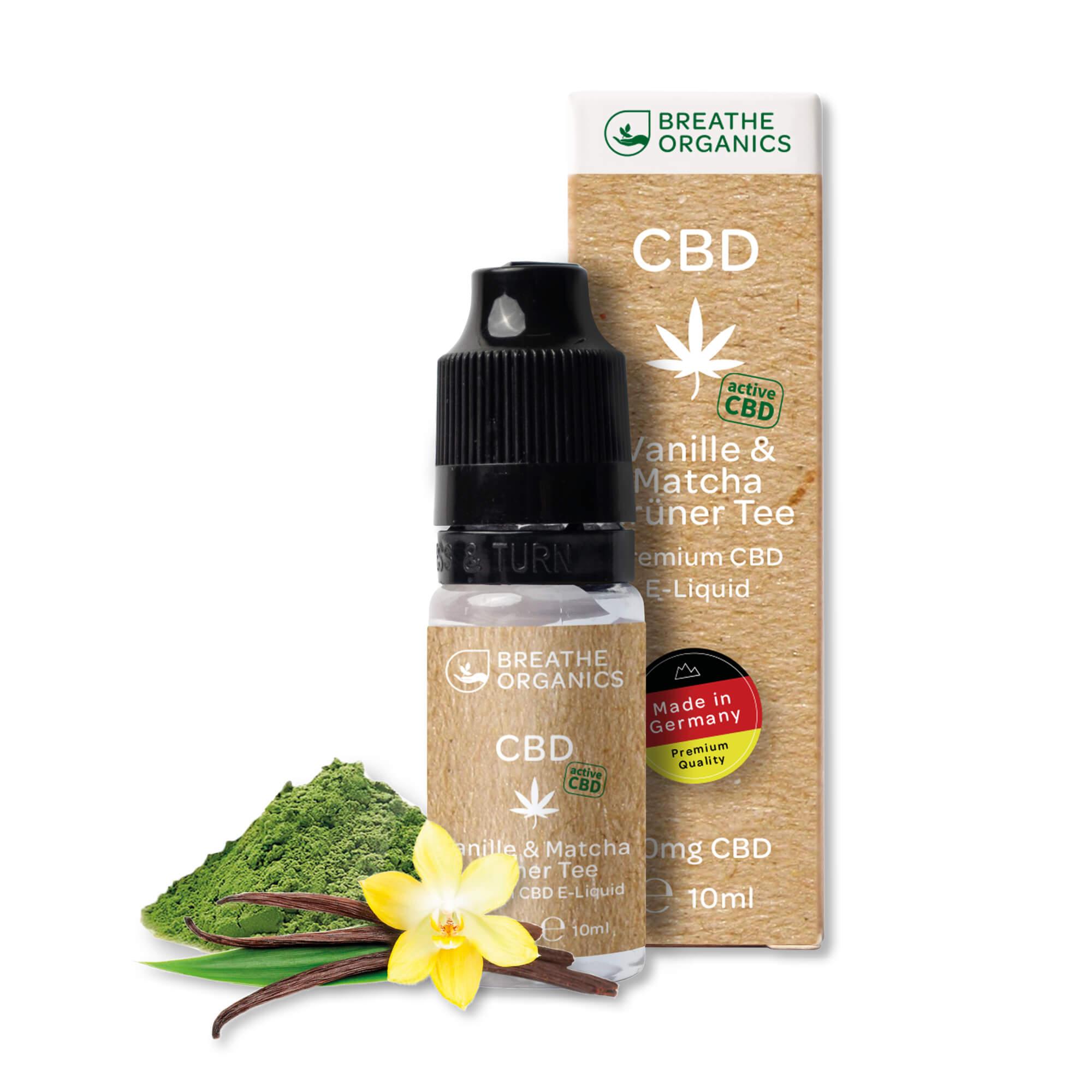 Breathe Organics - activeCBD Liquid Vanille & Matcha Grüner Tee 30mg