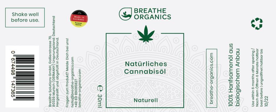 Cannabisöl hanföl Breathe Organics
